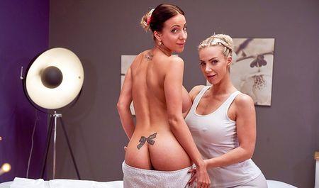 Фигуристая массажистка страстно трахается с сексапильной клиенткой